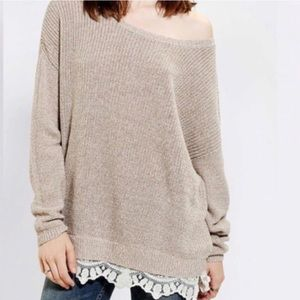 UO Pins + Needles Beige Lace Trim Sweater